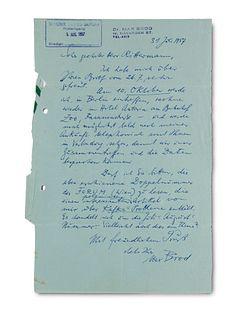 Brod, Max Eigenhändiger Brief mit Unterschrift an Hans Rittermann im Sender Freies Berlin, Abteilung Literatur. Tel Aviv, 31. Juli 1957. 1 S. auf 1 Lu