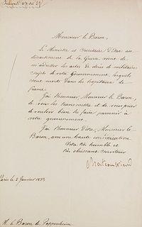 Chateaubriand, François René Vicomte de Eigenhändiger Brief mit Unterschrift an Monsieur le Baron de Pappenheim. Paris, 2. Jan. 1923. 1 S. (Blattmaße