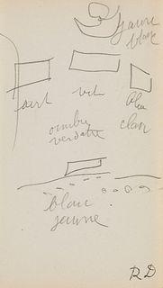 "Dufy u.a., Raoul ""Zwei eigenhändige Bleistiftskizzen des Malers mit Notizen u. Atelierstempel """"RD"""". o.O., o.J. Ca. 8,5 x 8 u. 16 x 9 cm."""