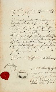 Ernst II. von Sachsen-Coburg-Gotha Vertrag über die Erpachtung der Jagd im Gossler Gemeinde-Holz. Gotha u. Gossel, 16. Feb. 1849. 4,5 S. auf 4 Bl. (je