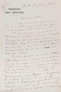 Buisson, Ferdinand Eigenhändiger Brief mit Unterschrift an den Präsidenten der Abgeordnetenkammer. Versailles, 17. Jan. 1913. 2 S. auf 1 Doppelblatt (