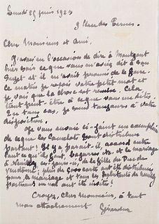 Gérardin Eigenhändiger Brief mit Unterschrift an Charles Maurras. Paris, 23. Juni 1923. 1 S. auf 1 Bl. (ca. 15,3 x 10,4 cm).