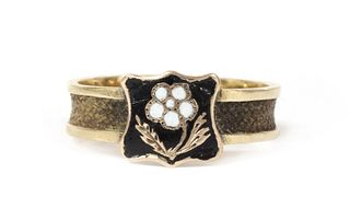 LOT WITHDRAWN A Victorian gold enamel memorial ring,
