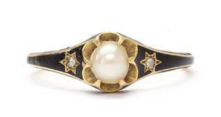 A Victorian gold enamel, split pearl and diamond memorial ring,