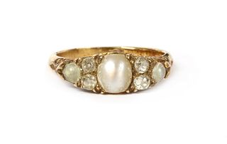 A Victorian gold split pearl and diamond ring,
