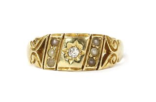 A Victorian gold diamond and split pearl ring,