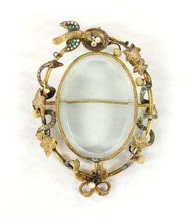 A Victorian gold turquoise, split pearl and pearl locket pendant/brooch,