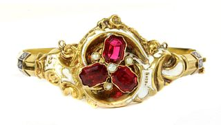 A Swedish gold paste, split pearl and enamel hollow hinged bangle, c.1850,