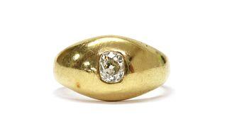 A late Victorian gold single stone diamond ring,