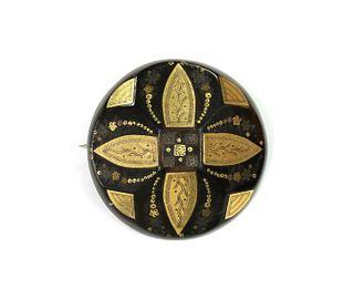 A Victorian piqu? work tortoiseshell brooch,