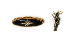 A Victorian gold onyx and split pearl brooch,