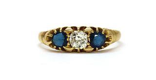 An Edwardian gold diamond and sapphire three stone ring,