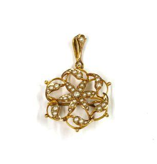 A gold split pearl pendant/brooch,