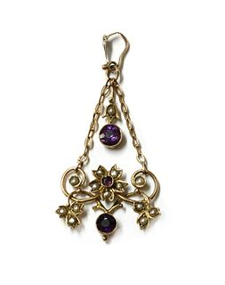 An Edwardian gold amethyst and split pearl pendant,