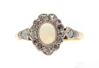 A gold opal and diamond cluster ring,
