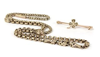 A gold fancy link chain,