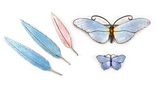 A sterling silver enamel butterfly brooch,