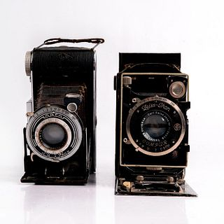 TWO VINTAGE FOLDING CAMERAS INCLUDING ZEISS