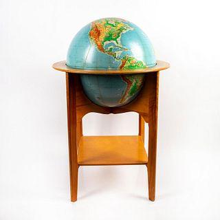 Antique School Globe On Wood Stand