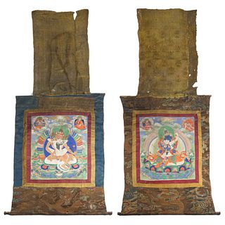 18TH CENTURY PAIR OF TANTRIC SINO-TIBETAN THANGKAS