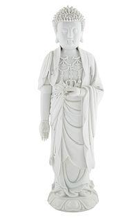A LARGE CHINESE BLANC DE CHINE FIGURE OF BUDDHA SHAKYAMUNI