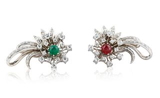 MID-20TH CENTURY PAIR OF TIFFANY & CO. DIAMOND, RUBY AND EMERALD CLIP EARRINGS