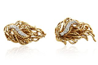 1950S PAIR OF TIFFANY & CO. 18K GOLD AND DIAMOND CLIP EARRINGS