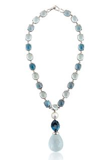 A LAURA J AQUAMARINE, PEARL AND GEMSTONE NECKLACE