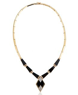 ART DECO STYLE ONYX, DIAMOND AND GOLD NECKLACE