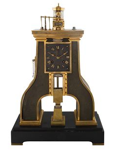 CIRCA 1900 GUILMET PARIS, INDUSTRIAL STEAM DESK CLOCK