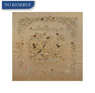 JAPANESE-STYLE FLOWER AND BIRD SILK EMBROIDERY
