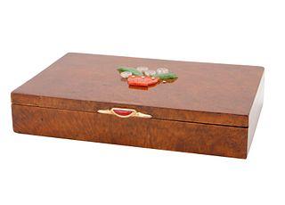 CIRCA 1889-1908  RUSSIAN BIRCH WOOD BOX WITH NEPHRITE APPLIQUE
