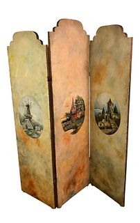 Antique French Hand Painted Room Divider