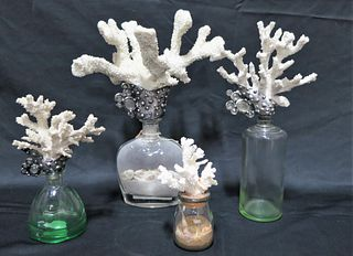 MIXED LOT OF FOUR CORAL TOP DECORATIVE BOTTLES