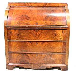 CIRCA 1840's BIEDERMEIER WALNUT ROLL TOP DESK