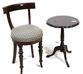 SMALL VICTORIAN SIDE CHAIR AND ROUND TABLE