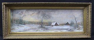 CIRCA 1891 WINTER LANDSCAPE PASTEL ON PAPER