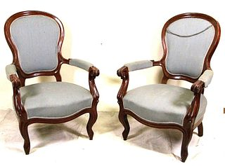 PAIR OF VICTORIAN ARM CHAIRS