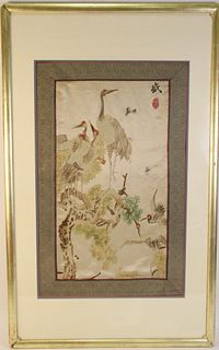 ANTIQUE FRAMED JAPANESE SILK EMBROIDERY