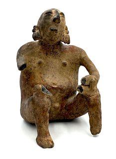 Jalisco Pre-Columbian Pottery Seated Figure