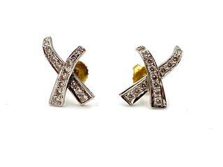 Pair of Platinum Diamond Earrings