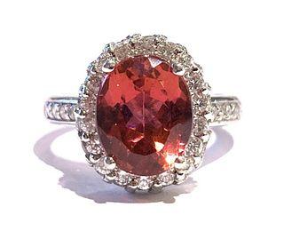 Oval 2.87 Carat Pink Tourmaline & Diamond Ring