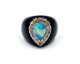Opal, Diamond & Onyx Ring