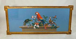 Large French Hand Blocked Wallpaper Panel, Framed