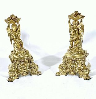 Pair of French Polished Brass Figural Chenets