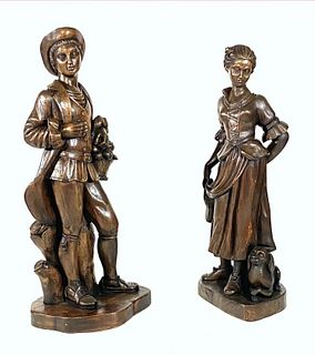 Large Pair of Carved Wood Figures