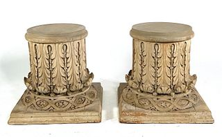 Pair of Hand Carved and Gray Painted Wood Capitals
