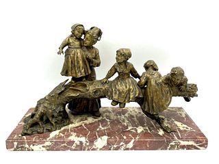 Joseph D'Aste Bronze Figural Group