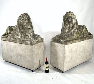 Pair of Cast Stone Recumbent Lions, Early 20thc.