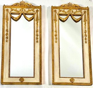 Pair Italian Neoclassical Style Gilded Mirrors